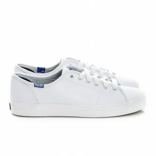 【Keds】時尚運動基本綁帶真皮休閒小白鞋(全白)