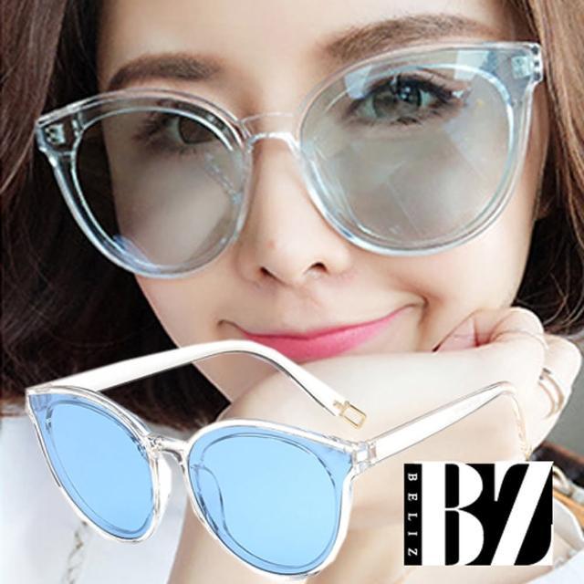 【BeLiz】透視眼神*微貓眼膠框墨鏡/透明藍