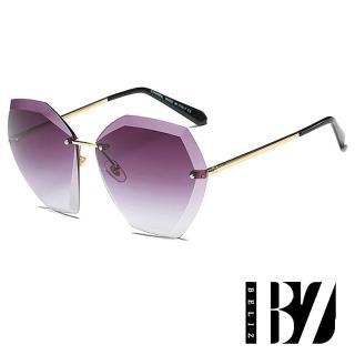 【BeLiz】六角切割*立體無框漸層墨鏡/紫