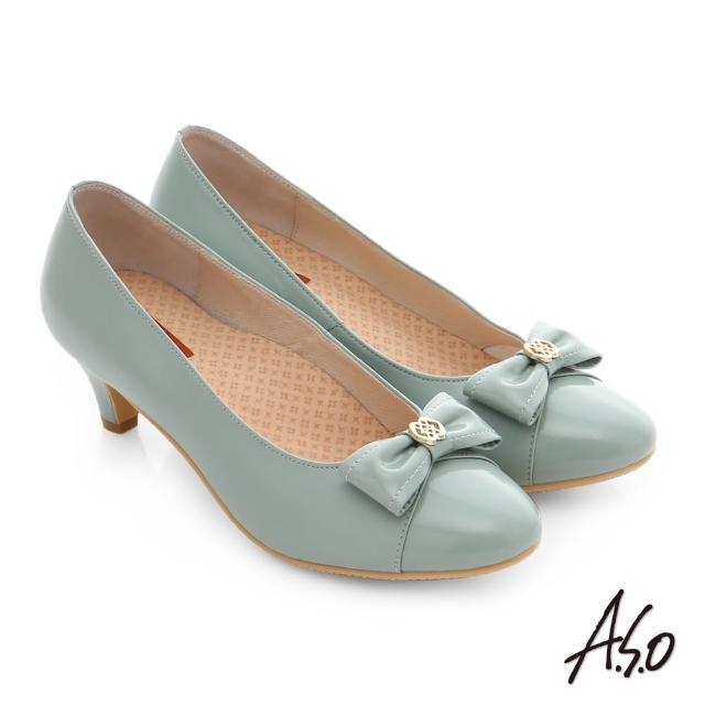 【A.S.O】舒活寬楦 全真皮蝴蝶結飾扣奈米窩心低跟鞋(淺綠)