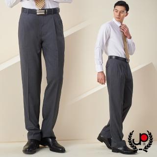【極品西服】商務質男仿毛條紋款雙褶西褲_灰白條(BS637-2)