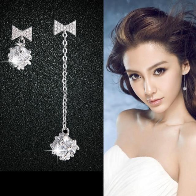 【梨花HaNA】韓國925銀蝴蝶結華麗水晶蝴蝶結鑽球長耳環
