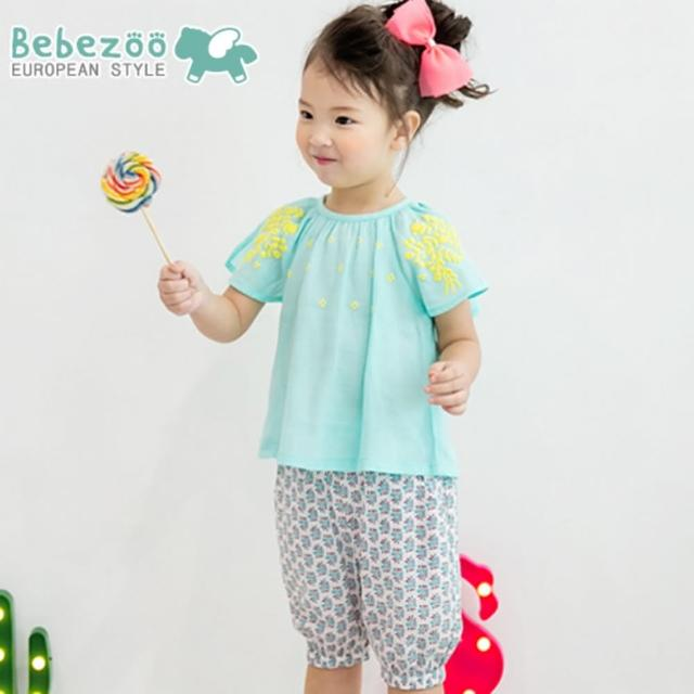 【韓國 BebeZoo】短袖上衣+短褲 套裝2件組 - 馬卡龍綠黃色刺繡(BE17-SET210)