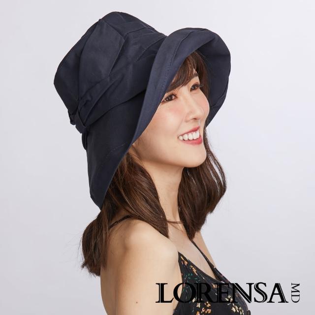 【Lorensa蘿芮】抗UV蝴蝶結純棉透氣純色可折防風大帽簷防曬遮陽帽(海軍藍)