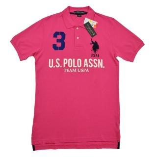【US POLO】3號馬球經典戰馬短袖POLO衫-粉紅(美國時尚品牌服飾)