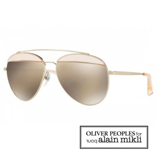 【alain mikli × Oliver Peoples 聯名款】法式巴黎 金屬雙樑眉框飛行員造型太陽眼鏡(透明白  AL4004-008)