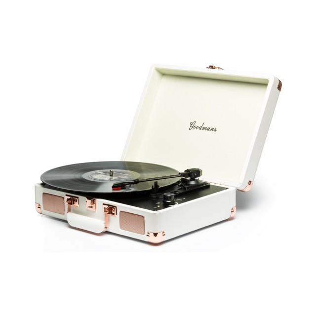 【Goodmans】Ealing Turntable 英國手提箱黑膠唱片機(白色)
