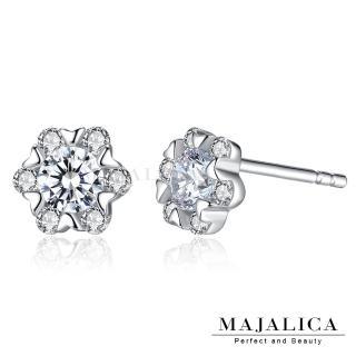 【Majalica】925純銀耳環 小花朵 擬真鑽 純銀耳環 PF6141