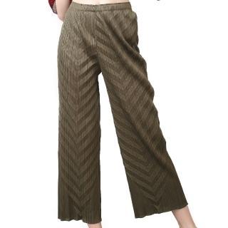 【玩美衣櫃】軍綠色舒適直筒壓摺長褲