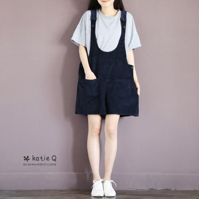 【*Katie Q】文藝百搭休閒燈芯絨吊帶短褲-M/L(藍)