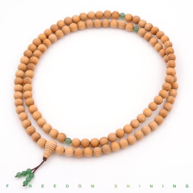【芬多森林】台灣檜木佛珠重油108粒8mm-綠