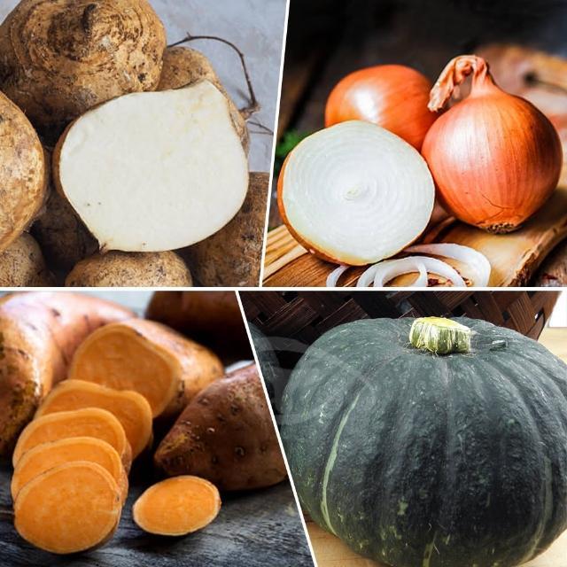 【鮮採家】小資家庭綜合蔬果箱B組(栗子南瓜+洋蔥+地瓜+豆仔薯)