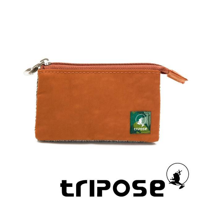 【tripose】漫遊系列岩紋簡約微旅萬用零錢包(橘)
