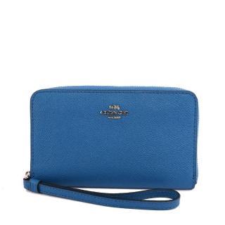【COACH】馬車LOGO防刮皮革中夾/手拿包(希臘藍)