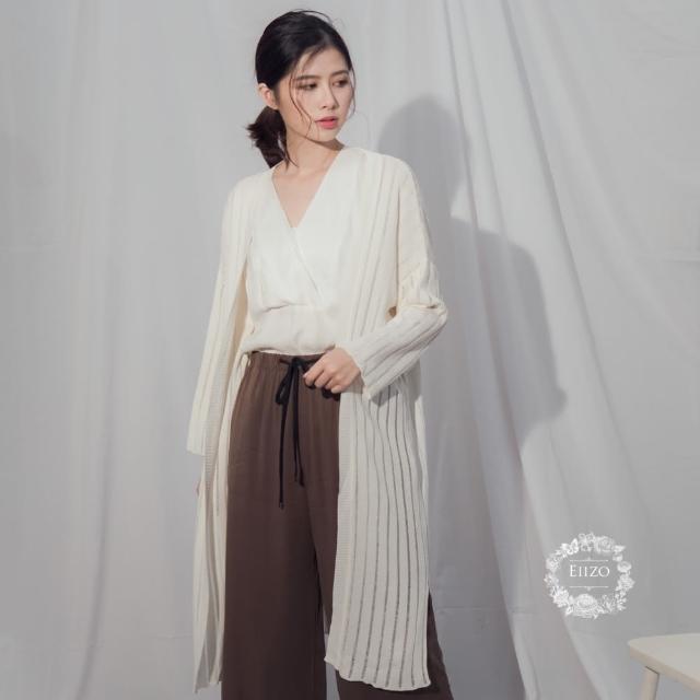 【EIIZO】針織羅紋長版罩衫(米白)