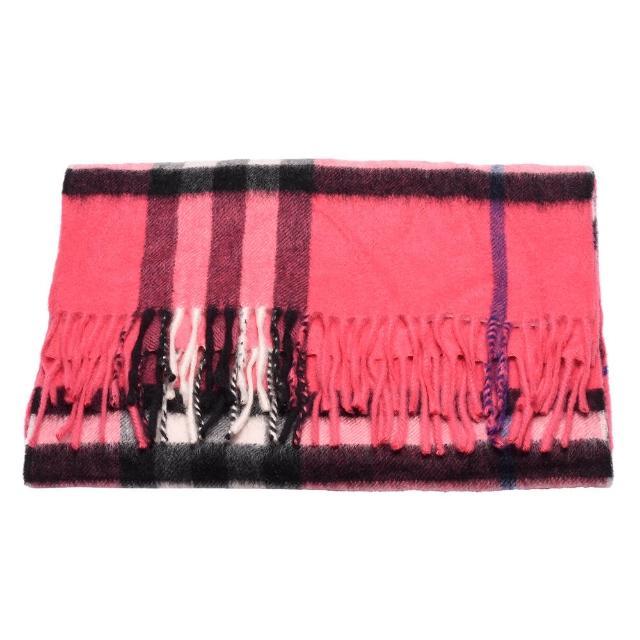 【BURBERRY】經典細格紋羊絨圍巾(桃紅色3902488-64B)