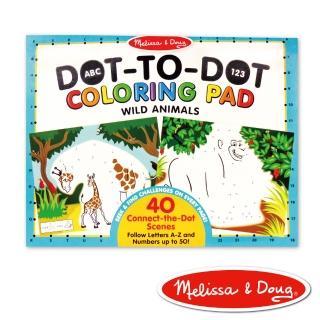【美國瑪莉莎 Melissa & Doug】大型兒童繪本 - ABC 123 點點著色本 - 野生動物