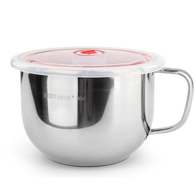 【PUSH!餐具用品】防燙防摔升級加厚304不鏽鋼碗泡麵碗飯碗湯碗帶日期指針蓋(E87)