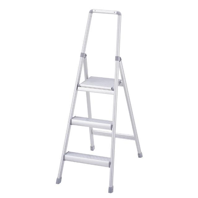 【長谷川】家具系鋁梯/踏台/梯子/工作梯銀色-3階