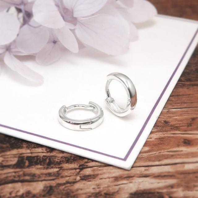 【ART64】易扣 圈式耳環 方弧線圓形 11mm 易扣式 純銀耳環