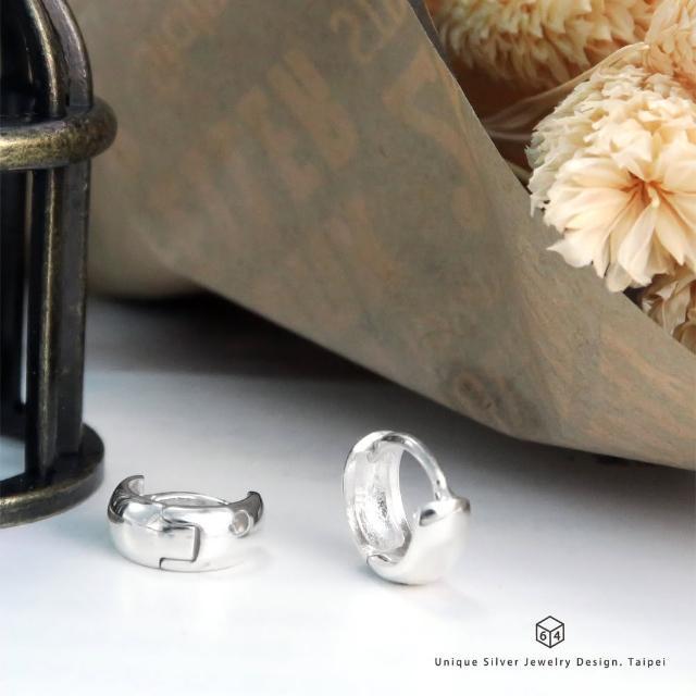 【ART64】易扣 圈式耳環 圓厚片圓形 11mm 易扣式 純銀耳環