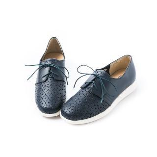 【ALAIN DELON】全真皮舒適透氣休閒鞋A77210(2色  藍色  白色)