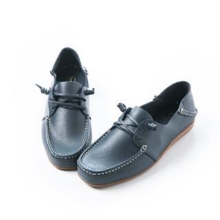 【ALAIN DELON】全真皮舒適男後踩休閒鞋A26010(2色  藍色  咖啡色)