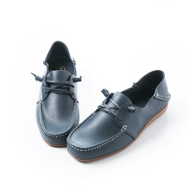 【ALAIN DELON 亞蘭德倫】後踩式牛皮懶人男休閒鞋A26010(咖啡  藍)