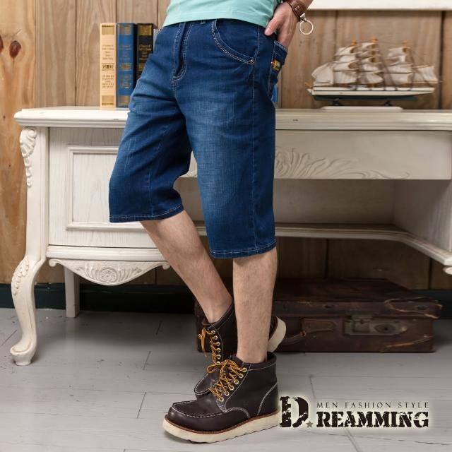 【Dreamming】編織皮標刷白水洗牛仔短褲