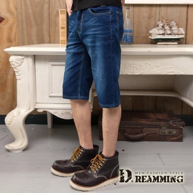 【Dreamming】質感木釦修身刷色牛仔短褲