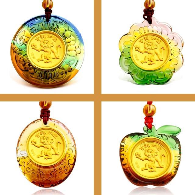 【A+】猴氣生財開運琉璃9999黃金項鍊-Q版十二生肖猴年限定(12生肖猴四選一)