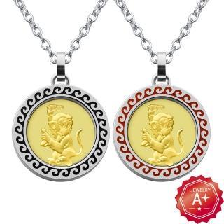 【A+】福星高照卡通猴 開運白鋼9999黃金項鍊
