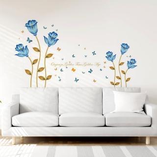 ~半島良品~DIY無痕 牆貼 壁貼~浪漫藍色花~SK9080 無痕壁貼 牆貼 壁貼紙 璧貼