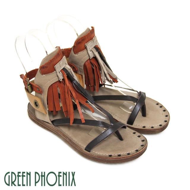 【GREEN PHOENIX 女鞋】BIS-VITAL 立體垂墜流蘇雙彩撞色側扣義大利雙色臘皮平底涼鞋(咖啡色)