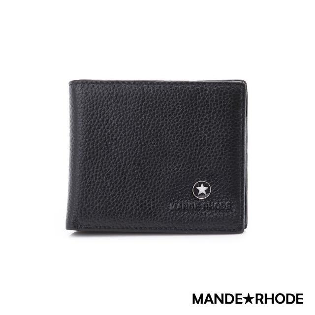 【MANDE RHODE】貝加莫-美式牛皮製格子造型短夾(86341-B)