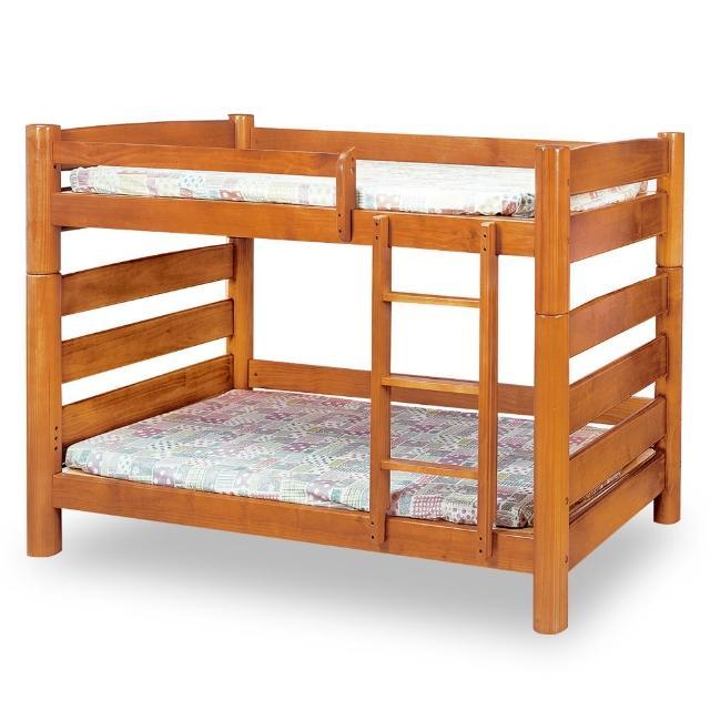 【時尚屋】柚木色實木5尺圓柱雙層床-不含床墊 MT7-196-2(免運費 免組裝 臥室系列)