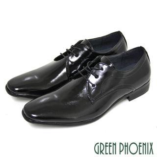 【GREEN PHOENIX 男鞋】素面質感亮面綁帶商務/紳士皮鞋(黑色)