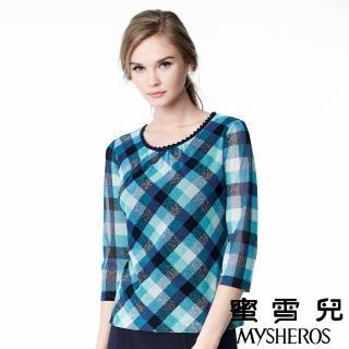 【蜜雪兒mysheros】圓領蕾絲滾邊格紋彈性七分袖上衣(藍)