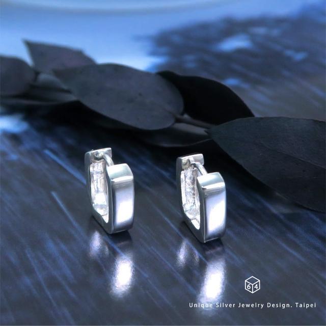 【ART64】易扣 圈式耳環 U型倒勾 方弧線 易扣式 純銀耳環