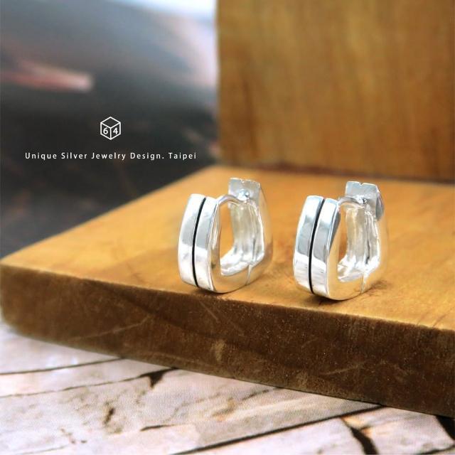 【ART64】易扣 圈式耳環 U型黑線 易扣式 純銀耳環