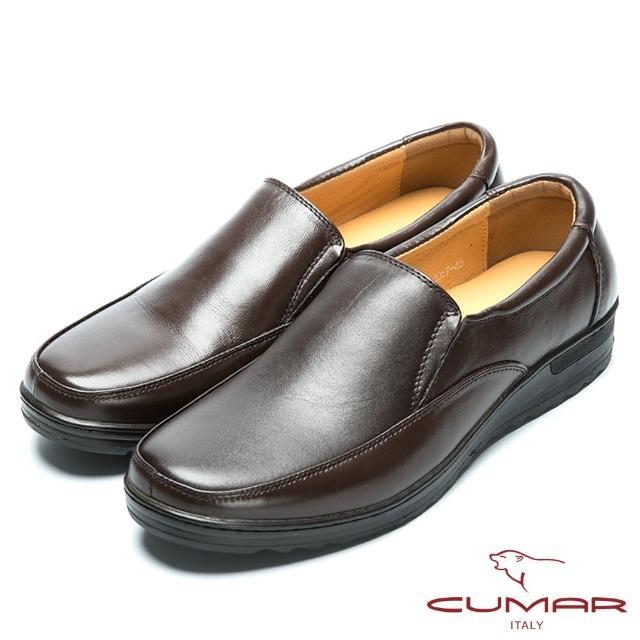 【CUMAR】舒適大底真皮休閒皮鞋(咖啡色)