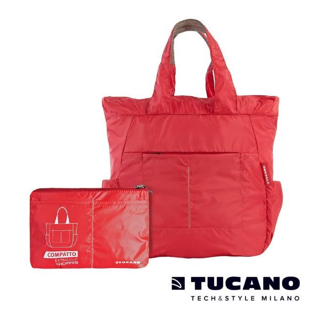 【TUCANO】COMPATTO 超輕量防水尼龍折疊收納購物包(紅)