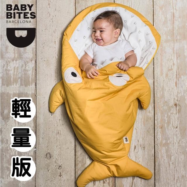 【西班牙鯊魚咬一口 BabyBites 西班牙製 100% 純棉手工嬰兒睡袋 防踢被 包巾】芥末黃(輕量版)
