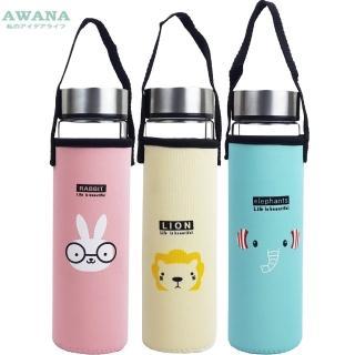 【AWANA】動物雙層耐熱玻璃水瓶400mlx3入組(隨機出貨)