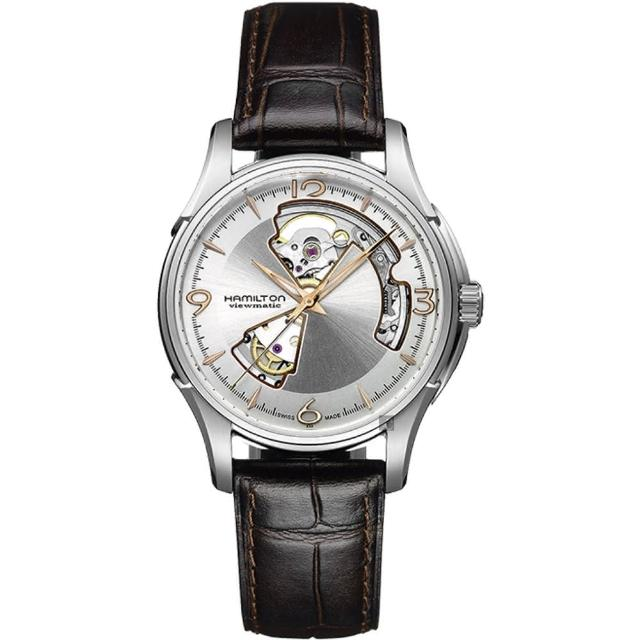 【Hamilton】漢米爾頓 Jazzmaster 鏤空機械錶-銀x咖啡/40mm(H32565555)