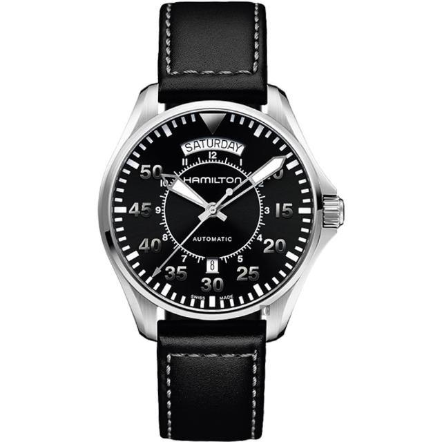 【Hamilton】漢米爾頓 Khaki Aviation卡其飛行機械錶-黑/42mm(H64615735)