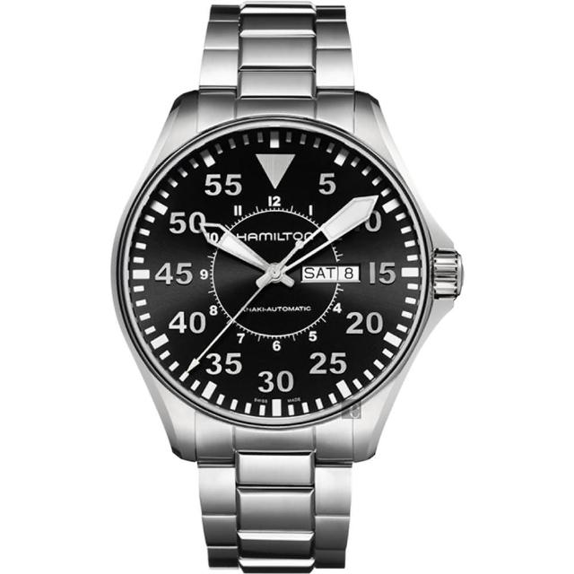 【Hamilton】漢米爾頓 Khaki Aviation卡其飛行機械錶-黑x銀/46mm(H64715135)