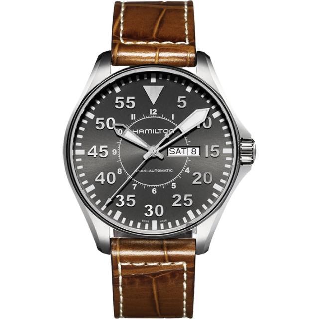 【Hamilton】漢米爾頓 Khaki Aviation卡其飛行機械錶-灰x咖啡/46mm(H64715885)