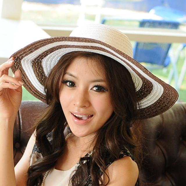 【Lady c.c.】海洋風情花繫情境遮陽帽(咖)