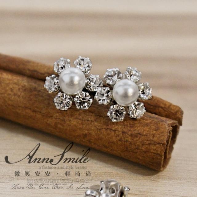 【微笑安安】耀眼珍珠花朵925純銀耳環